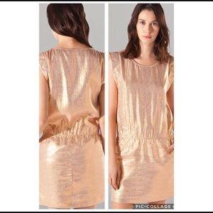 MAJE Aude Iridescent Metallic Dress w/ Poc…